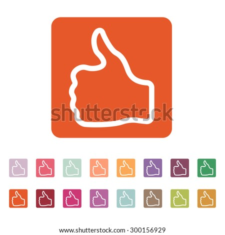 The thumb up icon. Like and yes, approve symbol. Flat Vector illustration. Button Set - stock vector