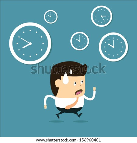The time management, With Cartoon Businessman running - stock vector