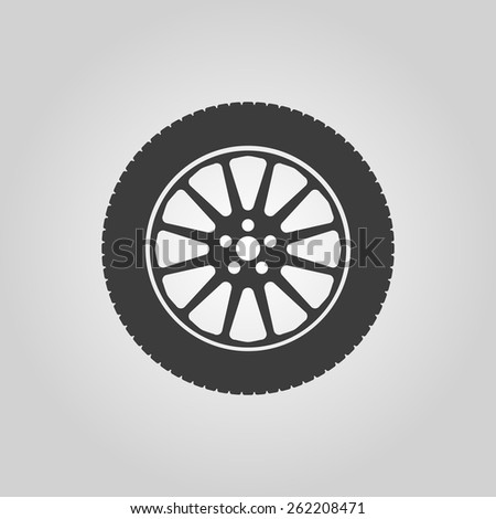 The tire icon. Wheel symbol. Flat Vector illustration - stock vector