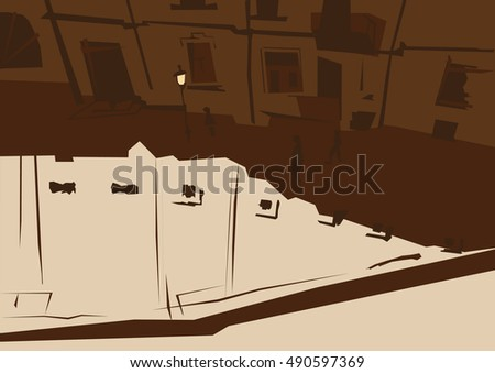 The top view on a street with lantern and few people in brown colors