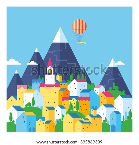The town in the mountains. Bright old town. Colored houses. Colorful town at the foot of the mountains. Old European city. Flat design. - stock vector