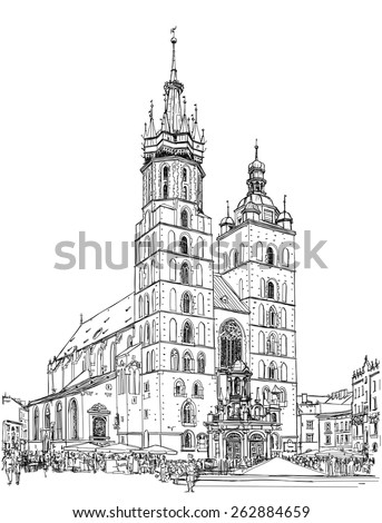 The town square in Krakow & Church of St. Mary. Poland. Black & white vector sketch - stock vector