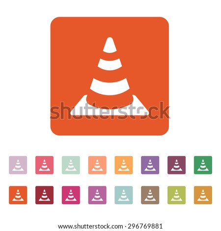 The traffic cone icon. Safety and attention, danger, warning symbol. Flat Vector illustration. Button Set - stock vector