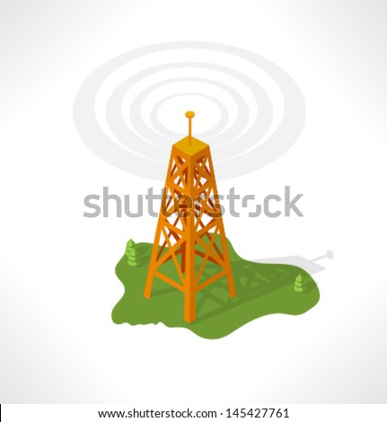 The transmission tower. Isometric building. - stock vector