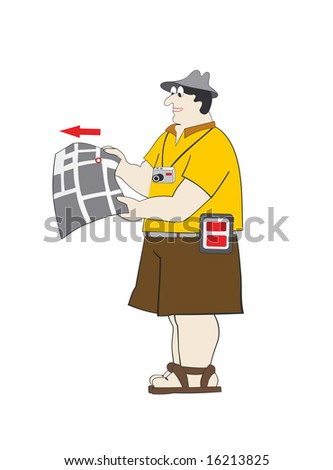 the traveler is holding a map - stock vector