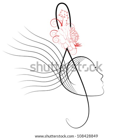 The treble clef stylised under a female profile - stock vector
