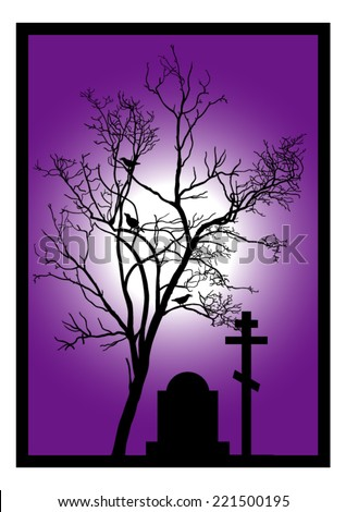 The Tree in the Cemetery - Halloween Background - stock vector