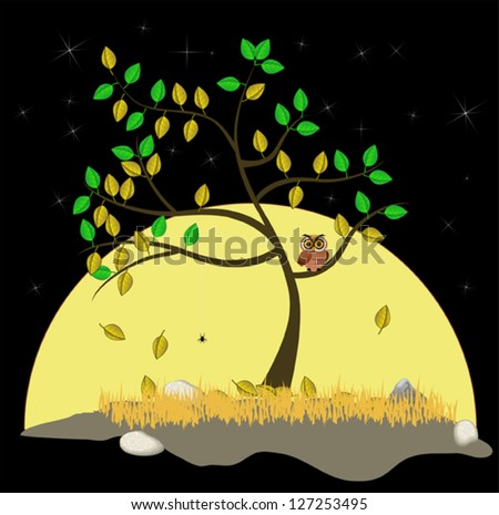 The tree stands alone among the moon and stars in the fall. - stock vector