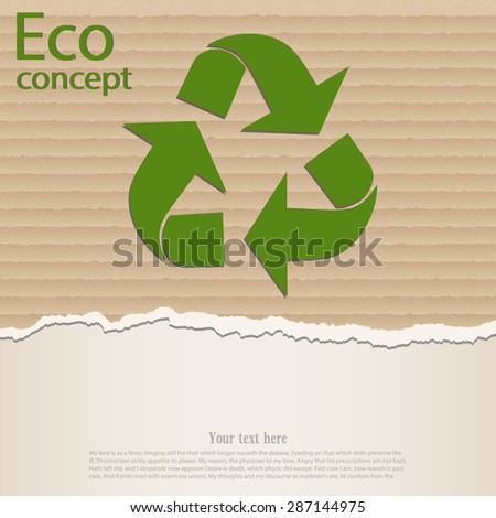 The triangular recycling symbol on the background of torn cardboard paper. Vector illustration. - stock vector