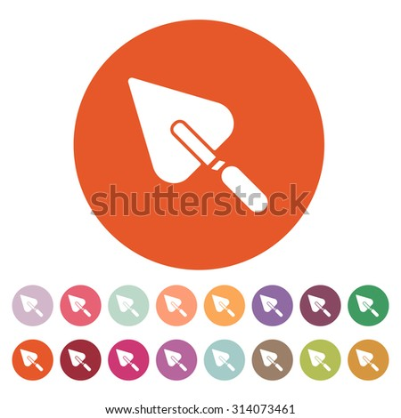 The trowel icon. Mason and building, repair, plasterer symbol. Flat Vector illustration. Button Set - stock vector