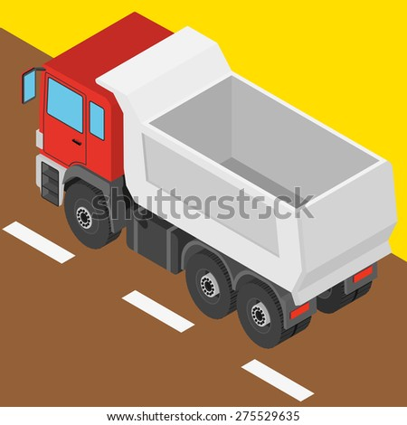 the truck in isometric projection - stock vector