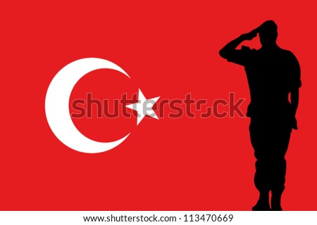 The Turkey flag and the silhouette of a soldier saluting - stock vector