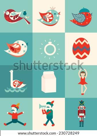 the twelve days of christmas vector/illustration flat design - stock vector