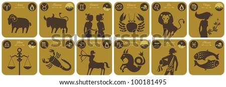 The twelve signs of the modern zodiac and their symbols - stock vector