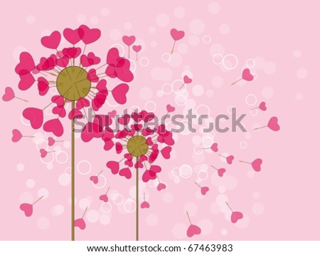 The two dandelion on a pink background - stock vector