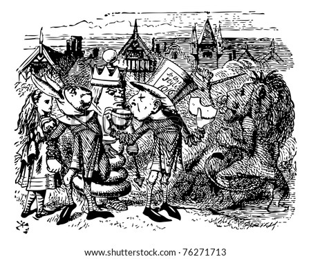 The Two Messengers - Through the Looking Glass and what Alice Found There original book engraving.  Hatta made a desperate effort, and swallowed a large piece of bread-and-butter. - stock vector
