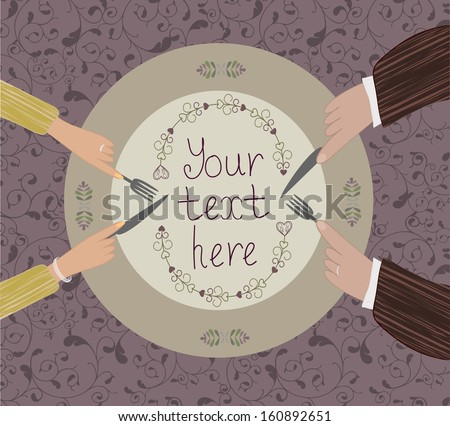 The two pairs of hands near the plate on a background with flowers - stock vector
