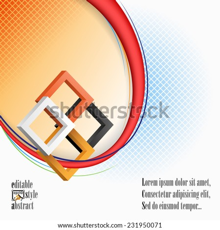 The Unique Idea for abstract background; Three dimensions squares in artistic design and elaborate arrangement. Abstract background for office and business, wallpaper, poster, template for designers.  - stock vector