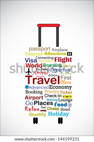 The Universal Travel Bag Concept design vector art Illustration using the most used travel terminologies in the shape of a travel bag or travel trolley - stock vector