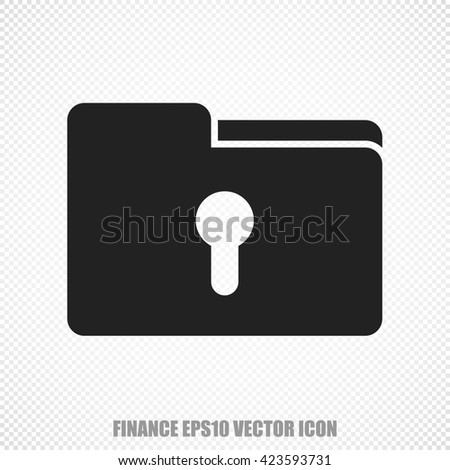 The universal vector icon on the finance theme: Black Folder With Keyhole. Modern flat design. For mobile and web design. EPS 10. - stock vector