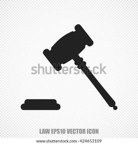 The universal vector icon on the law theme: Black Gavel. Modern flat design. For mobile and web design. EPS 10.