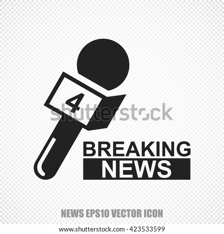 The universal vector icon on the news theme: Black Breaking News And Microphone. Modern flat design. For mobile and web design. EPS 10. - stock vector