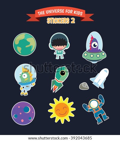 The universe for kids vector stickers set.