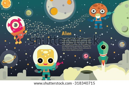 The universe kids,  Planets comparison, Sun and Moon , Galaxies Classification,Kids space learning,Full vector, Alien