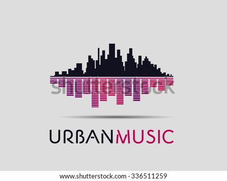 The urban music concept logo - stock vector