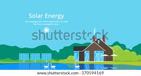 The use of solar energy in a private home. Renewable Energy - stock vector