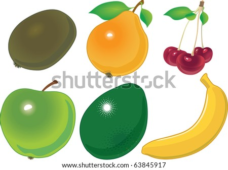 the various fruit accurately located on numbers. a vector illustration - stock vector