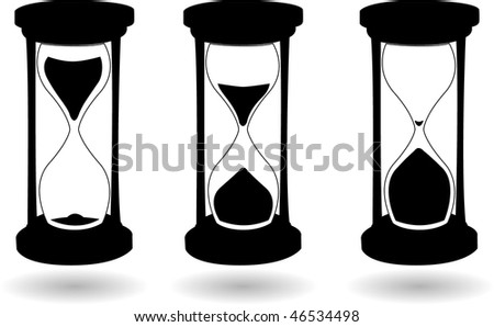 the vector black and white hourglass - stock vector