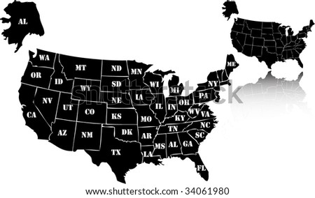 Vector Retro Usa Map Stock Vector Shutterstock - Black and white usa map