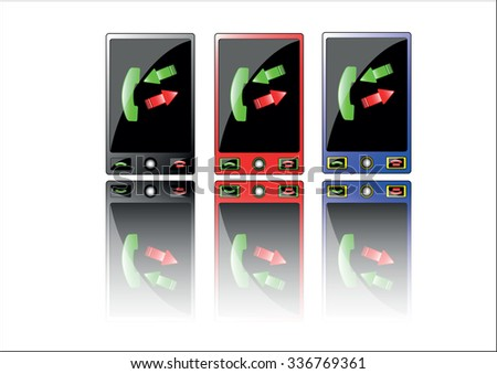 The vector cartoon of thr three modern touchphones isolated in white - stock vector