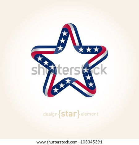 The vector design element star with american flag colors - stock vector