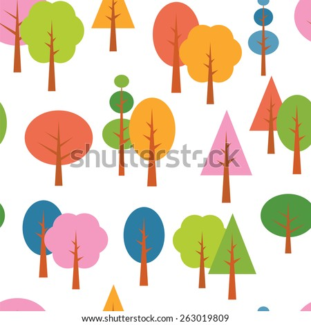 the Vector different tree seamless seasons background