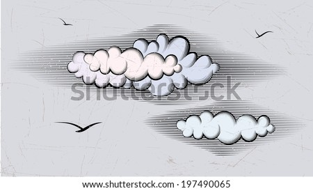 The vector drawing of a cloud in style of an ancient engraving.