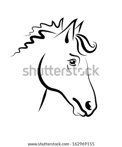 The vector drawing of head of a horse. Year of the horse.