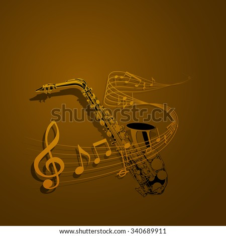 The vector form of saxophone and notes entwined with musical notes. It can be used as a poster, advertising or separately. - stock vector