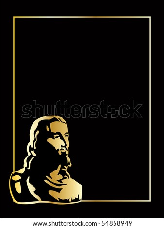 the vector gold jesus on black background - stock vector