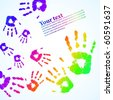 the vector hand print abstract color background eps 10 - stock