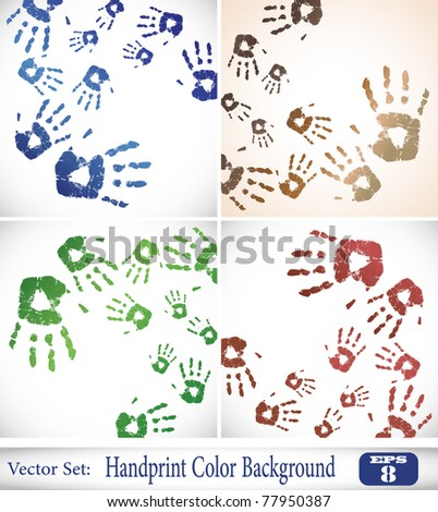 the vector handprint color background set eps 10 - stock vector
