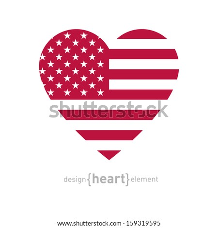 The vector heart with american flag color and symbols - stock vector