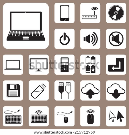 The Vector Illustration, Computer and Device Icon for Design and Creative Work - stock vector