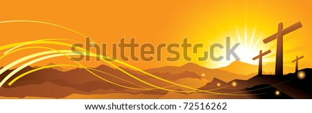 The vector illustration contains image Banner with an easter cross - stock vector