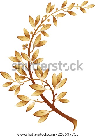 The vector illustration contains the image of gold laurel branch - stock vector