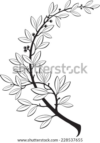 The vector illustration contains the image of laurel branch  - stock vector