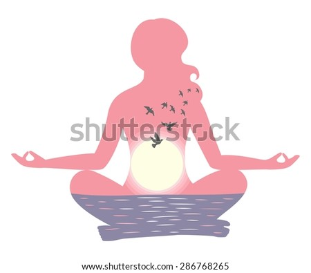 the vector illustration dedicated to the meditation. - stock vector