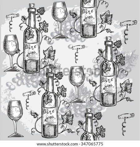"""The vector illustration """"hand drawn seamless pattern wine"""" for design - stock vector"""