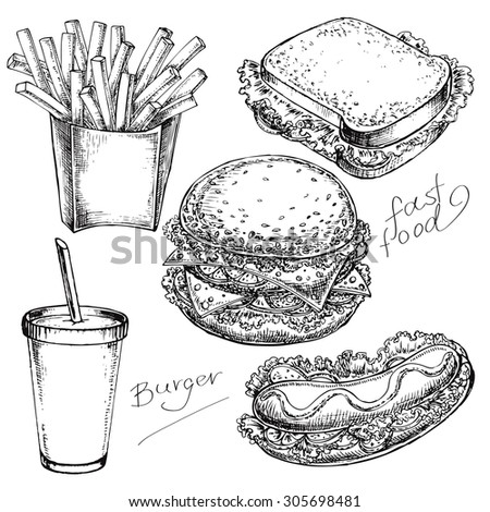 """The vector illustration """"hand drawn set fast food"""" for design - stock vector"""